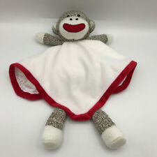 "Baby Starters Sock Monkey Lovey White Red Security Blanket Satin Back 12"" Square"