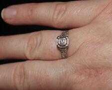 VINTAGE 1950's 14K WHITE GOLD FILIGREE  .10CT DIAMOND ENGAGEMENT RING SIZE 7 VDE