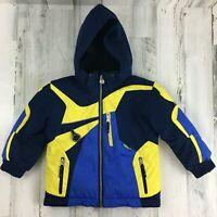 Obermeyer Kids Boys Sz 4 Blue Winter Ski Snow Jacket Coat Zip Up Insulated Hood
