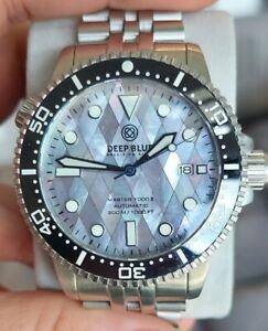 Deep Blue Master 1000 II 44m Watch Mother of Pearl Ceramic Bezel Oyster Bracelet