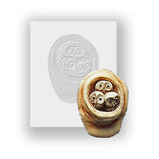 Silicone Mould - Baby Owl Nest - Flat Backed Mini Sculpture - Food Safe