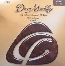 Dean Markley 2002 Vintage Bronze Acoustic Guitar Strings 11-52 light gauge