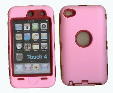 Built in Screen Protector Case / Cover for iPOD TOUCH 4 PINK / RED Free Stylus!!
