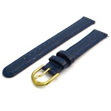 Shark Grain Blue Leather Watch Strap Band 16mm width g D021