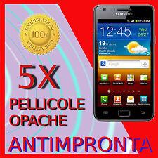 5 Pellicola Per Samsung I9100 Galaxy SII Opaca Antimpronta Protezione Pellicole