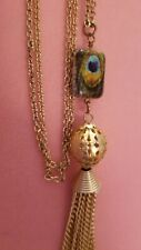 Beautiful Fun Us Free Shipping Long Goldtone Peacock Tassel Necklace 36""