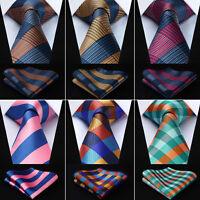 Classic Striped Plaid Mens Ties Woven Silk Wedding Necktie Handkerchief Set#G4