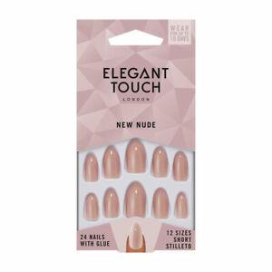 Elegant Touch 24 x NEW NUDESHORT STILETTO False Nail Tips & Glue Moisture Free