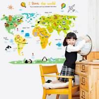 Wall sticker adesivo MAPPAMONDO BAMBINI parete muro cameretta ANIMALI amo mondo