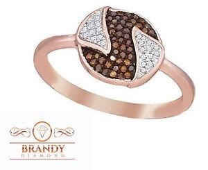 Brandy Diamond® Chocolate Brown 10K Rose Gold Round Savvy Design Ring .20Ct