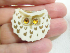 Ceramic OWL Brooch Pin White Gold Rhinestone Eyes Bird Figural Vintage Estate