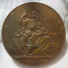 Antique French Art Nouveau Bronze Medal Chaplain Protection of the baby children