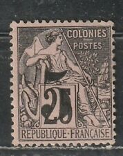 1886-87 French colony stamps, Cochin Indo China, 5c on 25c MH no gum, SC 4