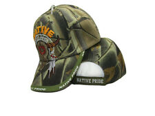 Native Pride American Bull Skull Tribal Shadow Camo Indian Embroidered Cap Hat