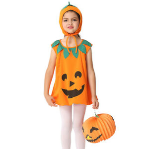 Candy Pumpkin Halloween Costumes for Kids Grils Tutu Gown Fancy Dresses Headwear