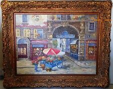 Beautiful Passage De Belleville Art France Oil Painting Canvas Signed 62x50""