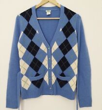 J.Crew 100% Cashmere Argyle Cardigan Blue White Black Green Small S Belt Sweater