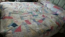 "Antique QUILT, CRAZY Quilt Pattern, Pastel, Primitive, 92""x71"""