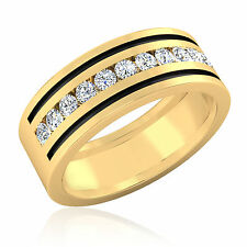 0.57ct Diamond Mens Rings Real 14K Yellow Gold Wedding Band Round Cut SI1 Size 9