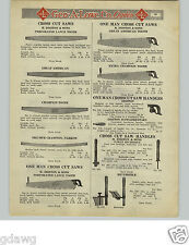 1925 PAPER AD Disston & Sons 2 Two 1 One Man Cross Cut Saw Great American
