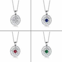 Sterling Silver Necklace with CZ Accent Pendant Clear White #90019