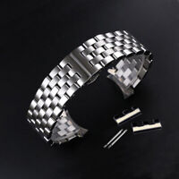 Curved Stainless Steel Metal Bracelet Butterfly Replacement Watch Band Strap