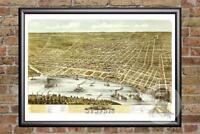 Vintage Memphis, TN Map 1870 - Historic Tennessee Art - Old Victorian Industrial