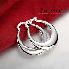 Women's Ladies 925 Silver Vintage Crescent Smooth Moon Hoop Earrings