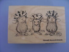 HOUSE MOUSE RUBBER STAMPS BOW TIED CHRISTMAS STAMP