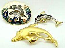 Estate Lot of 3 Dolphin Pins Brooches: Sparkling Rhinestone & Enamel Cloisonee