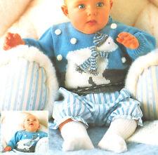 Bebé Oso Polar Con Sombrero & Bufanda Suéter De 3 - 24 meses 4 capas Tejer patrón