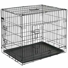 Archie Oscar Cage Transport Double Door Folding Metal Pet Dog Crate, Black
