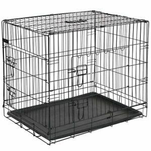 Archie Oscar Cage Transport Double Door Folding Metal Pet Dog Crate, Black