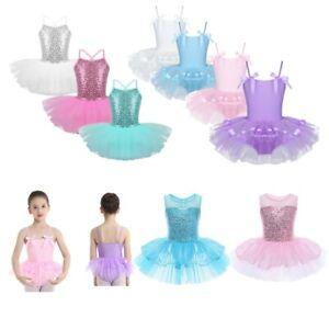 Kids Girls Ballet Dance Tutu Dress Gymnastic Leotard Ballerina Skirt Dancewear