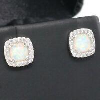 Vintage Princess White Opal Earrings Nickel Free Jewelry Gift 14K White Gold