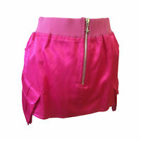 Ladies Womens Cerise Pink Satin Look Mini Skirt Pockets Zip Size 12 14