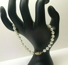 Ladies 5.7 mm White Pearl Bracelet & Solid 14k Yellow Gold Clasp Size 7-1/2 inch