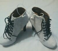 Qupid High Heel Ankle Boots Womens Black & White Size 6.5 New Free Shipping