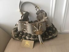Burberry Prorsum Leather Mason Warrior Studded Hobo Beige Leather Purse Bag