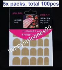 5x pack(Total100pcs) Double Sided Tape for False Nail Tips Adhesive Tab Manicure