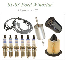 Tune Up For 01-03 Ford Windstar 3.8 v6: Spark Plug Wire set Air Oil Fuel Filters