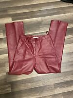 Vintage Newport News Red Leather High Waisted Pants Size 10 or 28 Waist