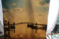 "Florida Fishing Sunset Lake Scene Double Sided Wall Door Hanging 35.5"" x 23.5"""