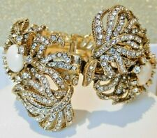 J Crew Bracelet Feather Crystal Hinged Clamper