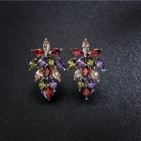 Special Natural Amethyst Peridot Morganite Garnet Gems Silver Stud Hook Earrings