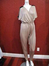 KARDASHIAN KOLLECTION JUMPSUIT BROWN  ELASTIC WAIST  SIZE M