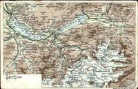 Switzerland Map Gruss Aus - Interlaken Area c1905 Postcard