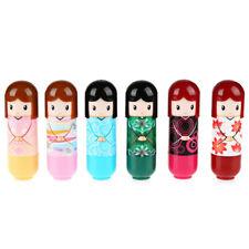 *uk set of 6 kimono doll lip balm fruity scented gloss girls party lipstick