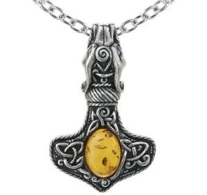 Alchemy Gothic Amber Dragon Thorhammer Pendant Celtic Mjolnir Necklace P728