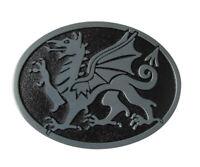 Boucle de ceinture dragon gris style antique, étain.